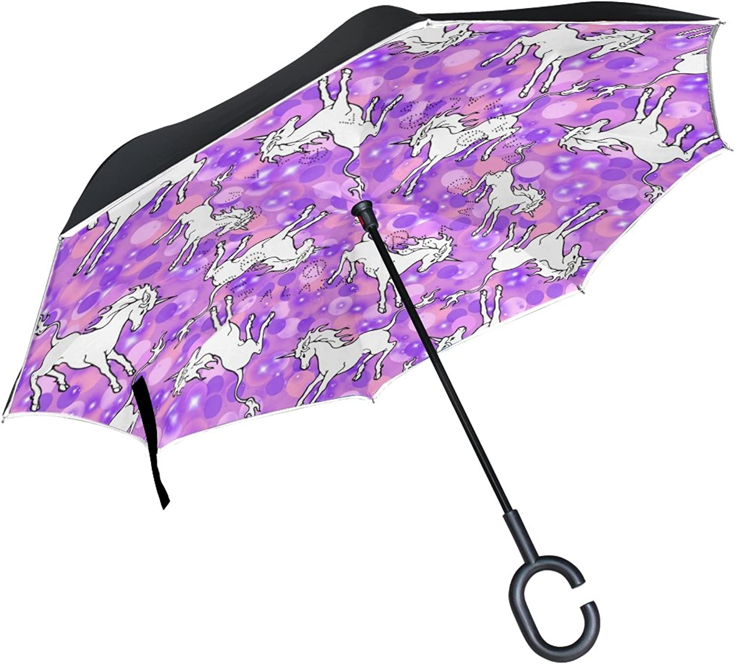 MAPOLO Dancing Unicorns Pattern Ingreened Double Layer Straight Umbrellas InsideOut Reversible Umbrella with CShaped Handle for Rain Sun Car Use