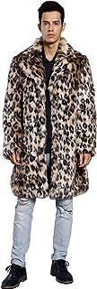 Cartoden ヒョウ柄 ファー ロング コート メンズ 厚手 毛皮コート フェイクファー 無地 秋冬 暖かい カジュアル アウター 贅沢 大きいサイズ