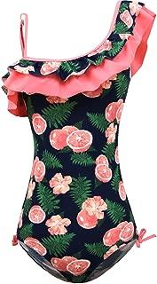 KALAWALK Girls Lemon Double Ruffle One Shoulder Adjustable Swimwear Fashionable One Piece Bathing Suit(5y-16y)
