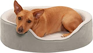 Furhaven Pet Dog Bed   Round Oval Cuddler Nest Lounger Pet Bed for Dogs & Cats - Available in Multiple Colors & Styles