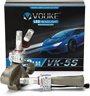 VK-5S H4 HB2 9003 8000lm Led Headlight Conversion Kit,High Low Dual Beam Head Light,Halogen Headlight Replacement,6500K Xenon White, 1 Pair