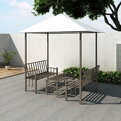 Zora Walter Pérgola de jardín con Mesa y Bancos 2, 5x1, 5x2, 4 m Resistente a la Intemperie Resistente a los Rayos UV: Amazon.es: Jardín