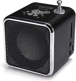 Portable Mini Stereo FM Radio MP3 Speaker Music Player Support Micro SD (Black)