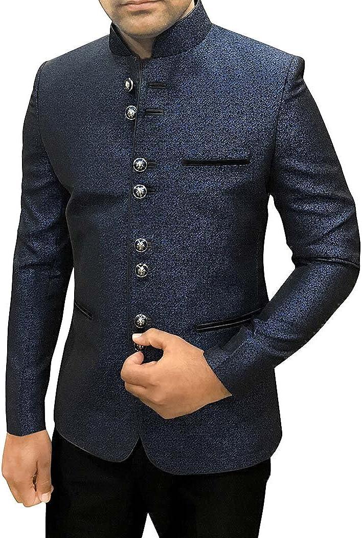 INMONARCH Mens Dark Navy Polyester 2 Pc Jodhpuri Suit Partywear JO504