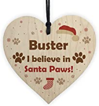 RED OCEAN Pets First Christmas Bauble Decoration Wood Heart Santa Paws Dog Tree Decoration