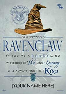 MightyPrint Harry Potter Sorting Hat - Ravenclaw House - Personalized with Your Name Wall Art Decor - Next Generation Premium Print - Featuring Hogwarts House Quote Poem