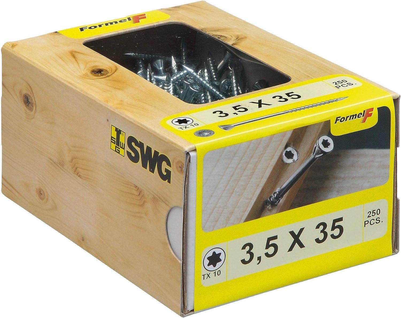 und Deckverkleidungen //Nagelspitze //Teilgewinde Stahl verzinkt Dielenschraube 250 St/ück Schraube Wand 3,5 x 45 mm