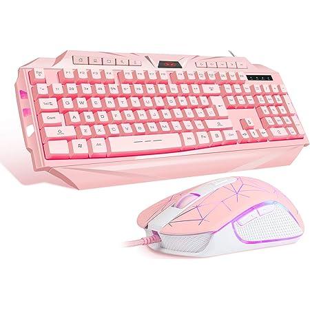 MageGee GK710 - Juego de teclado y ratón con cable para niña, teclado de PC y ratón DPI ajustable para PC/ordenador portátil/Mac (rosa)