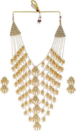 Kundan Pearls Jewellery Set For Women Golden ZPFK8520