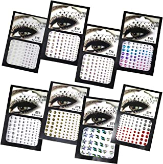 8Pcs 3D Eyes Body Face Nails Jewelry Acrylic Rhinestone Stickers Glitter Flash Crystal Eyes Temporary Tattoo DIY Art Decor...
