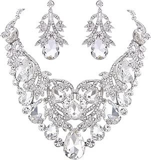 Clearine Women's Bohemian Boho Teardrop Filigree Leaf Hollow Statement Necklace Dangle Earrings Set