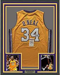 70192694f28 Framed Autographed/Signed Shaquille Shaq O'Neal 33x42 Los Angeles LA Yellow  Basketball Jersey