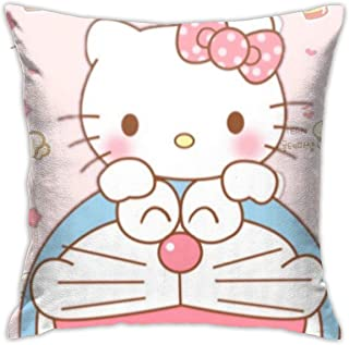 Suzhiguohu Hello Kitty with Cake Home Decorative Square Throw Pillow Covers Set Cushion Cases Pillowcases for Sofa Bedroom Car 18 X 18 Inch 45 X 45 cm