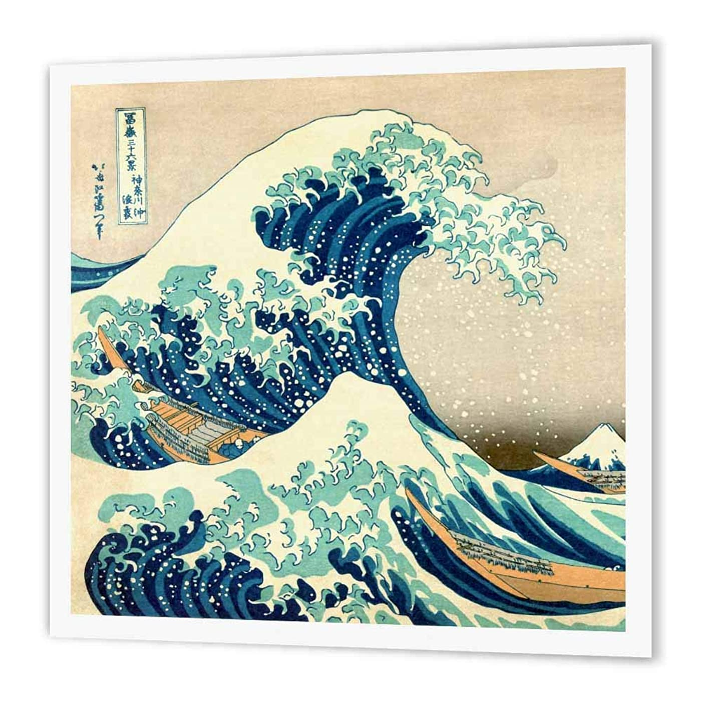 3dRose ht_155631_1 The Great Wave Off Kanagawa Dramatic Blue Sea Ocean Iron on Heat Transfer Paper for White Material, 8 by 8-Inch