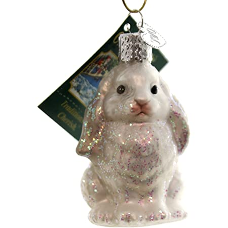 Old World Christmas Vintage Inspired Cottontail Bunny Holiday Ornament Glass