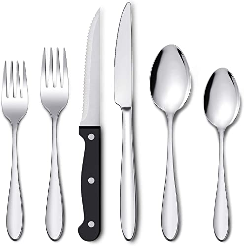 2021 Umite lowest Chef 72-Piece Silverware Set with Steak Knives for 12, Stainless Steel Flatware Cutlery Set, Fork Spoon Knife high quality Set Eating Utensils Tableware, Mirror Polished, Dishwasher Safe outlet sale