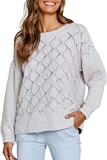 ACKKIA Women's Crewneck Hollow Out Textured Pullover Crochet Knit Sweater Top