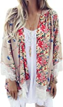 Camisunny Women Chiffon Printed Cardigan Kimono Robe Tops Beach Bikini Cover up Blouse