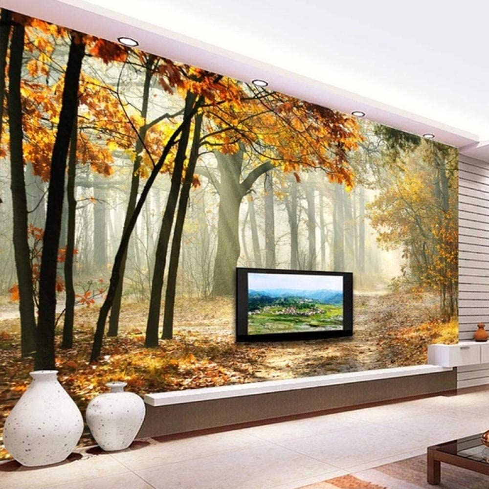 Product Custom Woods Forest Small Road Large 3D Mural Creative Max 88% OFF Ro Dining