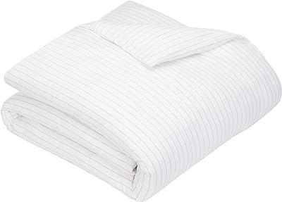 Pinzon 160 Gram Pinstripe Flannel Cotton Duvet Cover, King, White Pinstripe