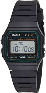 Casio Mens Quartz Watch, Digital Display and Rubber Strap F-91W-3DG