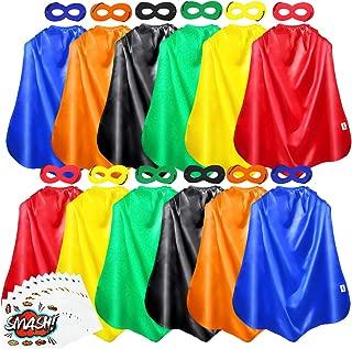 AIMIKE Superhero Capes and Masks, 12 Packs Kids DIY Dress Up Superhero Costume, with Superhero Sticker