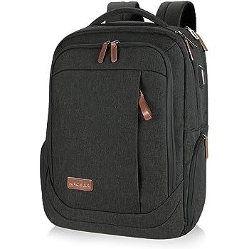 KROSER Laptop Rucksack Schulrucksack 17,3 Zoll Tagesrucksack Wasserabweisende Laptoptasche mit USB Ladeanschluss für Business/Schule/Reisen/Frauen/Männer-Schwarz MEHRWEG