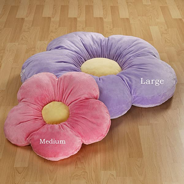 Girls Flower Floor Pillow Seating Cushion For A Reading Nook Bed Room Or Watching TV Softer And More Plush Than Area Rug Or Foam Mat 35 Purple