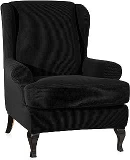 CHUN YI 2-Piece Stretch Jacquard Spandex Fabric Wing Back Wingback Armchair Chair Slipcovers (Black, Wing Chair)
