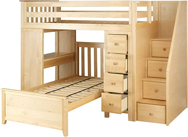 Amazon Com Plank Beam Staircase Combo Loft Bed Desk Dresser Twin Bed Natural Furniture Decor