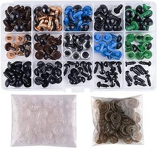KUUQA 6-12mm 150 Piezas Coloridos Vistoso Ojos de Seguridad Ojos de Plastic con Arandelas para Hacer Muñecas