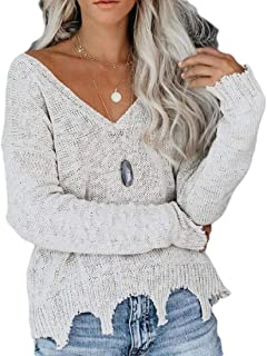 Women Loose Knitted Sweater Long Sleeve V-Neck Ripped Pullover Sweaters
