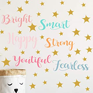 6 Sheets Colorful Inspirational Wall Stickers for Girls Vinyl Wall Decals Sayings Girl Room Decor Stickers Positive Quote ...