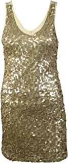 Ya Los Angeles Womens Gold Sequin Mini Dress Gold-Cream Medium, Large