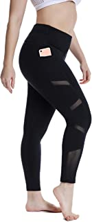 YOHOYOHA Women's Yoga Pants Plus Size Breathable Mesh Splice Tummy Control Best Long Workout Fitness Pants for 4 Way Stretch