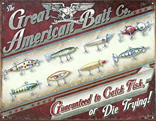Great American Bait Co. Distressed Retro Vintage Tin Sign 16 x 13in