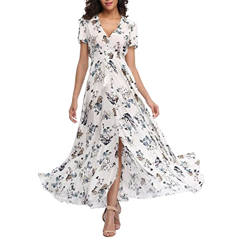 2e36aaad252 VintageClothing Women s Floral Maxi Dresses Boho Button Up Split Beach  Party Dress
