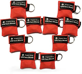 100-Pack Red Mini CPR Masks Portable Keychain Kit - CPR Rescue Mask Face Shields with One-way Valve Breathing Barrier for First Aid or AED Training, Easy to Carry