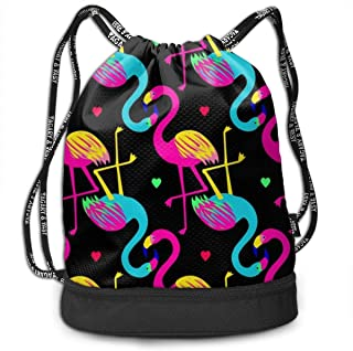 Men & Women Premium Polyester Drawstring Bag Colorful Heart Flamingo Rucksack Theft Proof Lightweight For Swim Soccer Baseball Bag Large Size For Camping, Yoga Runner