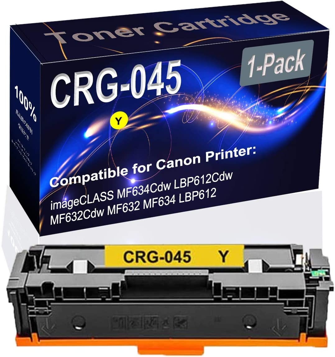 1-Pack (Yellow) Compatible imageCLASS MF634Cdw LBP612Cdw MF632Cdw MF632 MF634 LBP612 Laser Printer Toner Cartridge (High Capacity) Replacement for Canon CRG-045 Printer Toner Cartridge