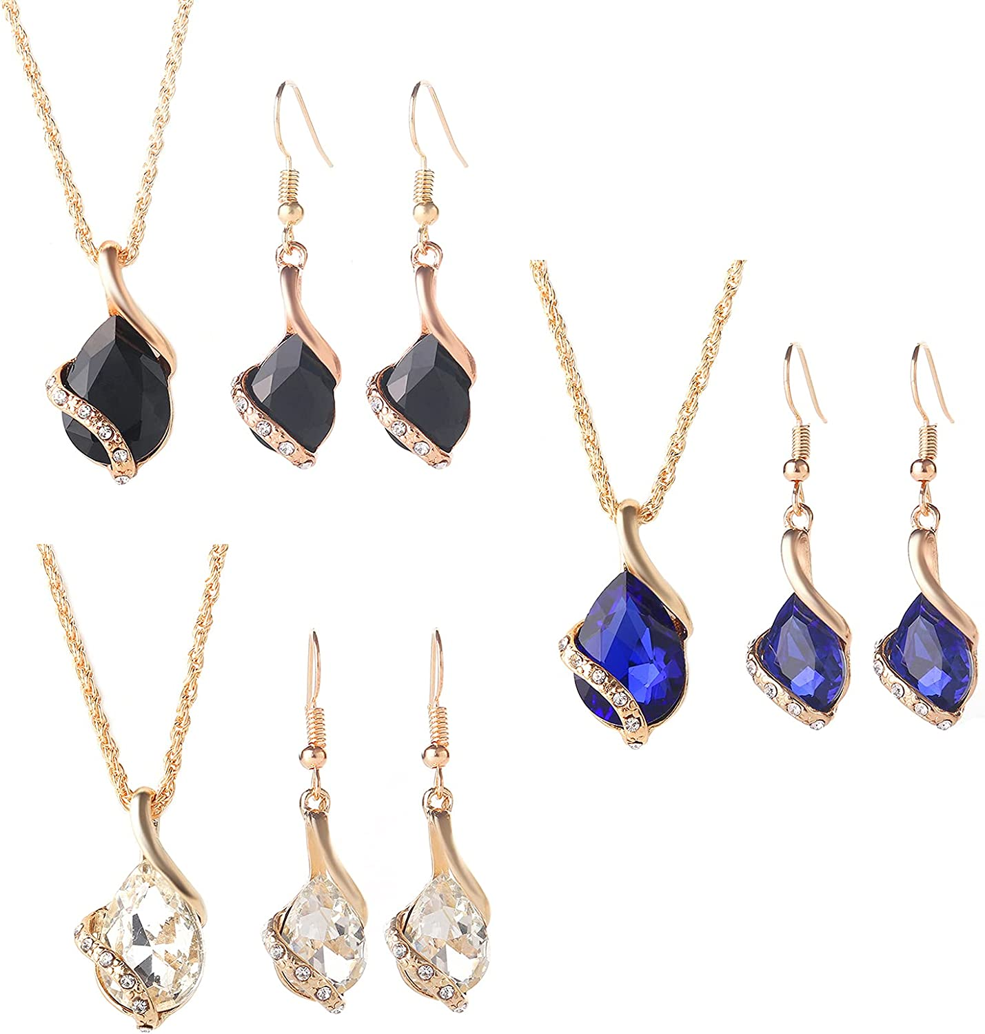 Rose Gold Teardrop Pendant Necklace Bridesmaid Wedding Earring Costume Jewelry Sets for Woman