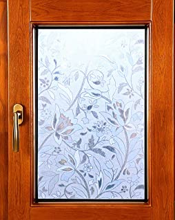 Artviva Tulip Window Film,Decorative Vinyl Film for Window Privacy/Insulation/Glare Control,Great Choice for Bathroom/Kitchen/Office Window&Door Glass,Static Cling Film 17.7