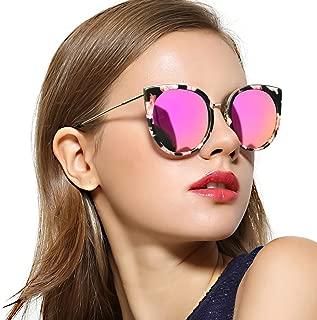 RazLiubit Oversized Cat Eye Sunglasses for Women, Polarized Trendy Mirrored Lens, Metal Temple UV400 for Driving Fishing