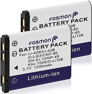Fosmon【大容量 1200mAh (4.44Wh) / 3.7V】Olympus オリンパス Li-40B Li-42B / Nikon ニコン EN-EL10 / Fujifilm 富士フイルム NP-45 NP-45A NP-45B / Pentax ペンタックス D-LI63 / Casio カシオ NP-80互換バッテリ- パック【純正充電器対応】 (2個セット)
