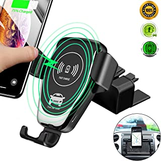 CD Slot Wireless Car Charger,10w Fast Charge CD mount Phone Holder Car Mount,[All Qi-Enable Devices][Gravity Sensor] Phone Mount Fits for Samsung Galaxy S10/S10 Plus Note9/S9/S8 and iPhone X/XR/XS Max