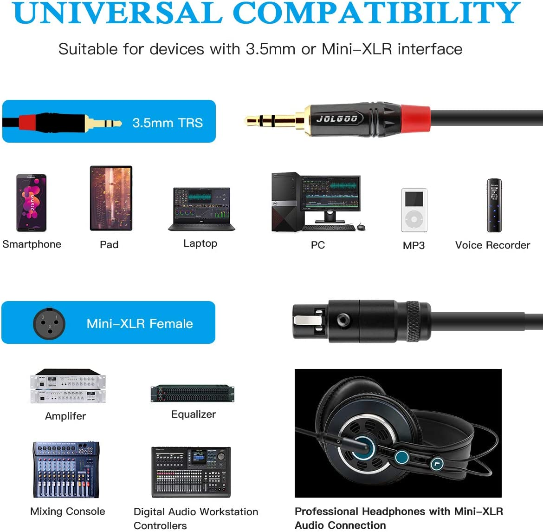 JOLGOO 3.3 Feet 1//8 TRS Plug to 3-pin Mini XLR Female Headphones Audio Cable 3.5mm Stereo Audio Plug to Mini XLR Female Cable