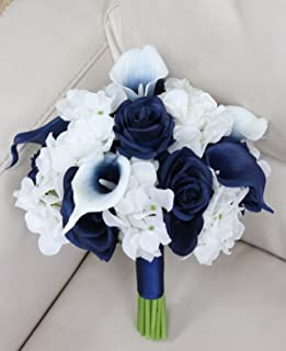 Beautiful Hand-tied bouquet-hydrangea Rose Calla lily-colors in Navy Wine Burgundy Fuchsia Raspberry Mint Spa Coral Turquoise Horizon Blue (White/Navy, 9