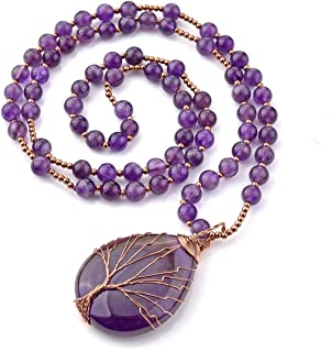 Natural Amethyst Quartz Healing Crystals Necklace Wire Wrapped Teardrop Tree of Life Chakra Gemstone Pendant 28
