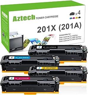 Aztech Compatible Toner Cartridge Replacement for HP 201X 201A CF400X CF400A CF401X CF402X CF403X (Black/Cyan/Yellow/Magenta, 4-Packs)
