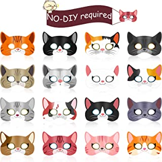 Blulu 16 Pieces Kitty Cat Theme Birthday Party Supplies, Halloween Cat Masks Kitten Masks for Cat Theme Party Kitty Party Costumes Photo Prop Decoration
